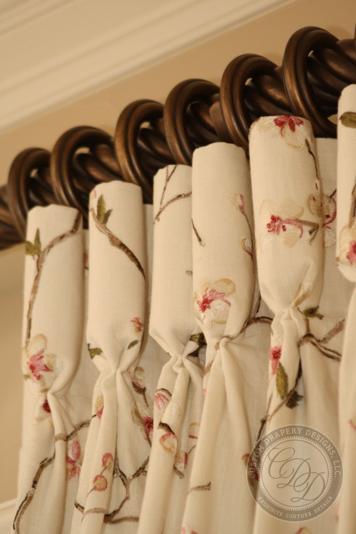 Custom Drapery With Champagne Flute Pleat Detail And Twisted Wood