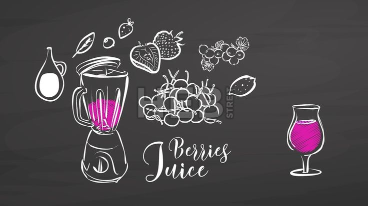 Berries juice drawing on chalkboard. Hand drawn healthy food sketch. Black and White Vector Drawing on Blackboard. ... ... by #Hebstreit