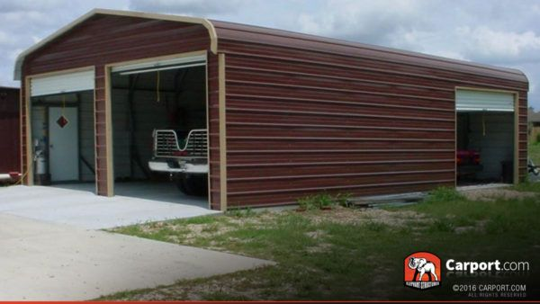 Metal Building Garage For Two Cars 22 X 31 Metal Buildings Metal Garage Buildings Metal Building Homes