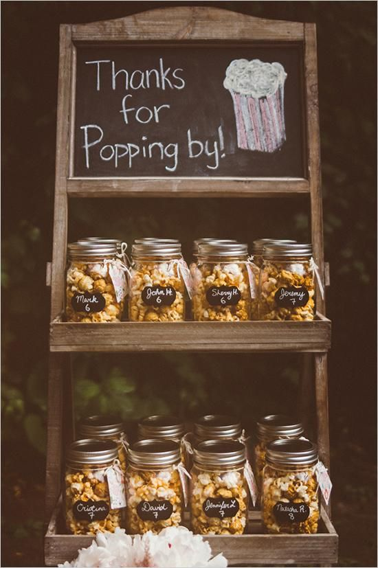 Mason jar popcorn wedding favor                                                                                                                                                                                 More