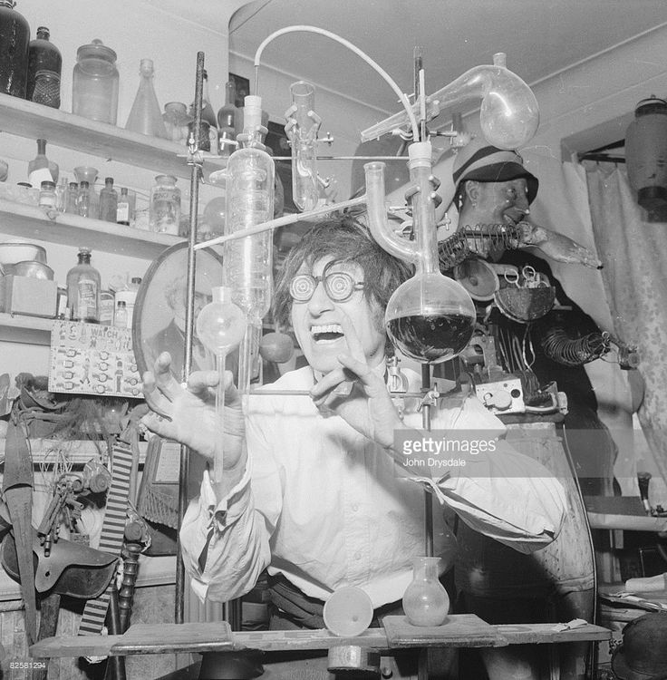 1962, Eccentric junk and curio collector Bruce Lacey at his home in Muswell Hill, London. Bruce, nicknamed the 'Mad Professor' also produces props for comedians Spike Milligan and Tommy Cooper and the Goons.