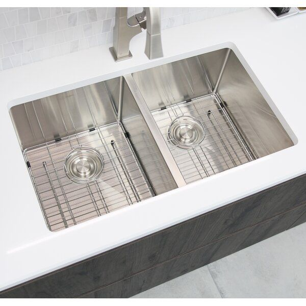 30 L X 18 W Double Basin Undermount Kitchen Sink With Grids And Basket Strainers Sink Double Basin Undermount Kitchen Sinks