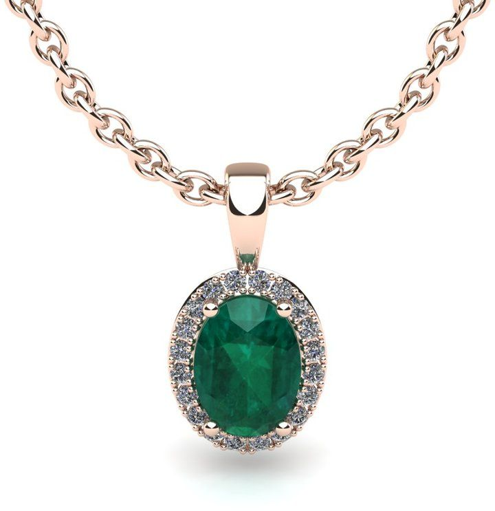 Ice 1/2 CT TW Emerald 14K Rose Gold Halo Pendant Necklace with Diamond Accents