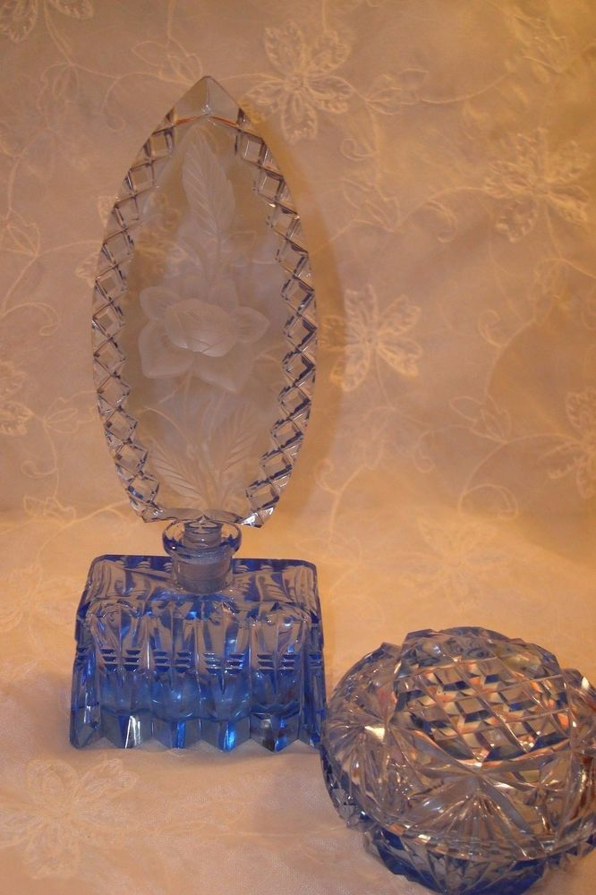 VTG/ANTIQUE IRICE CZECH BABY BLUE PERFUME BOTTLE & JEWELRY JAR ~GORGEOUS SET