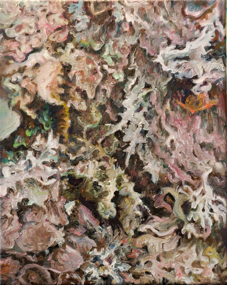 Katerina Papazissi- Moss, 2016 Oil on canvas, 50x60cm #painting, #oilpainting, #flesh #leaves