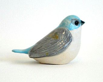 clay bird red by ecorock on Etsy