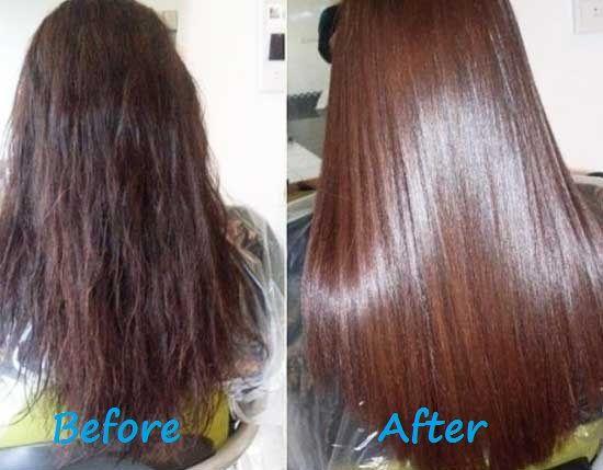 The molecules of gelatin envelop the hair, smoothing hair ...