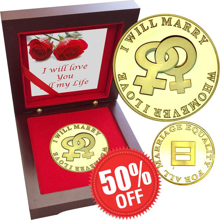 Same Sex Marriage Lesbian 1 oz Gold layered Proof Silver Coin Rosewood Female