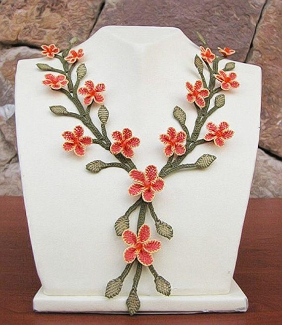 "Authentic Anatolian Needle Lace Pure Silk ""Gonul Celen"" Necklace"
