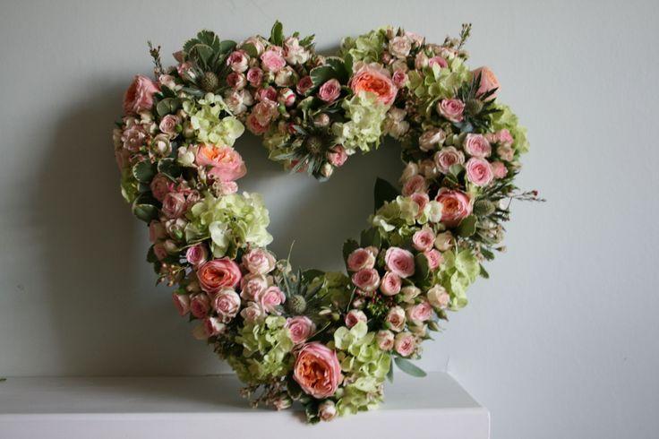 Rose heart wreath www.thestockbridgeflowercompany.co.uk