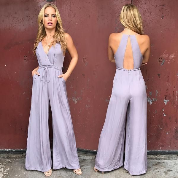 Graceful Lilac Jumpsuit Weddingguestoutfit Wedding Guest Outfit Romper In 2020 Fancy Jumpsuit Summer Wedding Outfits Wedding Guest Outfit Summer