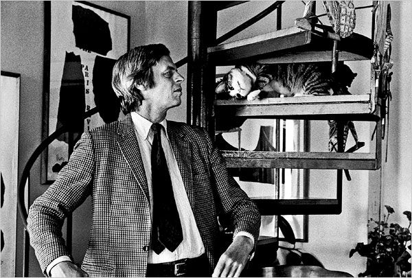 George Plimpton, with the cat Mr. Puss