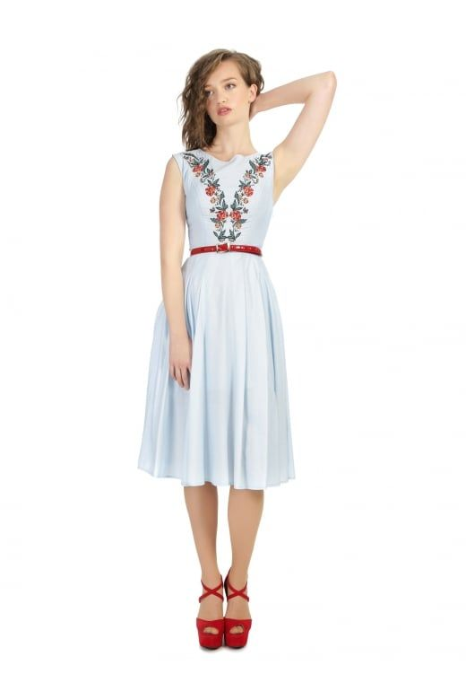 Bright & Beautiful Astrid Folk Floral Embroidered Dress