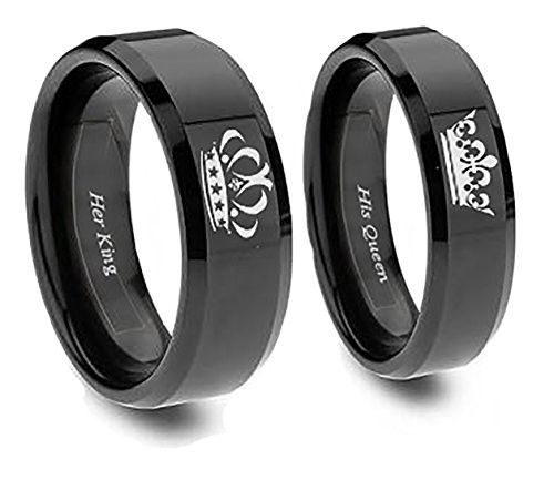 King and Queen Rings In Black (his 10 her 8)