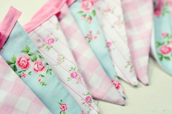 Cottage Style Fabric Bunting Banner roses and gingham ...