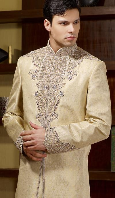 G3 fashions Off Beige Embroidered Jacquard Sherwani  Product Code : G3-MSH10000101 Price : INR RS 18889