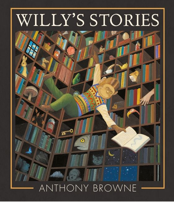 """Willy's Stories"", by Anthony Browne.  Where will Willy's imagination take him next? Once a week, Willy walks through an ordinary-looking set of doors and straight into an adventure."