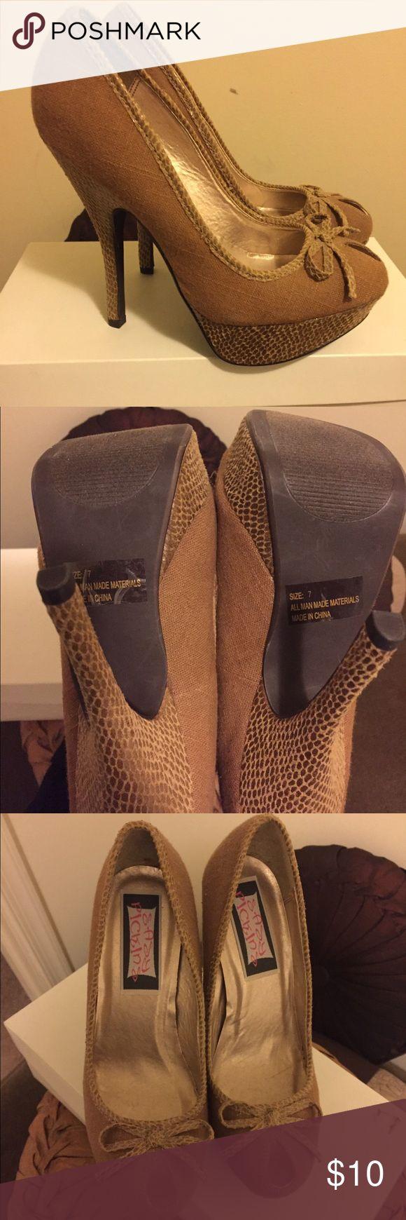 TAN PEEP TOE PUMP HEELS SIZE 7 🌼🌼🌼🌼🌼🌼🌼🌼🌼 Cute pair of tan peep toe pumps! Great looking spring/summer shoe! New, never worn. Size 7! Shoes Heels