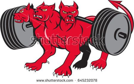 Illustration of cerberus, in Greek and Roman mythology, a multi-headed usually three-headed dog, or hellhound with a serpent's tail, a mane of snakes lion's claws powerlifting barbell cartoon style .   #cerberus #cartoon #illustration