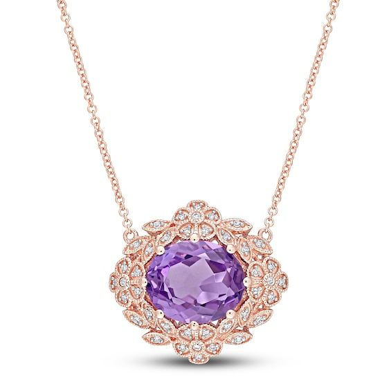 Natural Amethyst Necklace 1 5 Ct Tw Diamonds 14k Rose Gold Jared In 2021 Amethyst Amethyst Necklace Amethyst Jewelry