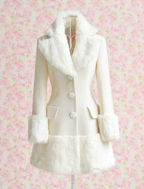 Winter Pure White Woolen Coat                              …