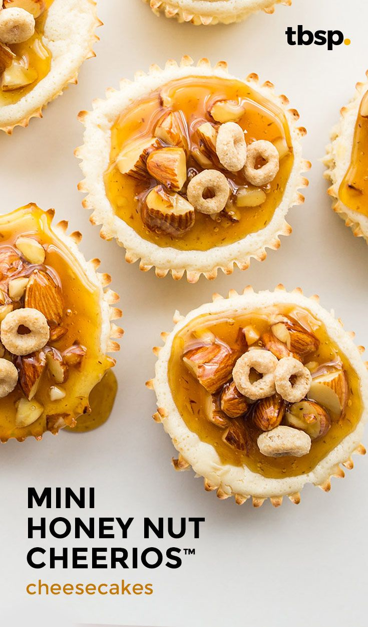 Deliciously perfect for each other, the flavors of honey and nut complement smooth, creamy cheesecake in this easy treat. A touch of amaretto in the base and a gooey, caramel-y honey-almond topping puts these mini desserts over the top.