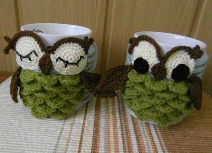 Crocheting: Owl mug cozy. One for sleepy time tea and one for morning tea!