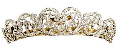"The Spencer Tiara. Princess Diana wore the Spencer Tiara as her ""something borrowed"" on her wedding day in 1981.Composite of elements and not an heirloom as has been previously suggested. The central element was a gift from Lady Sarah Spencer to Cynthia, Viscountess Althorpe as a wedding present in 1919. Four other elements were made to match it in 1937. Only the two elements at the end are old and are said to have come from a tiara owned by Francis, Viscountess Montagu and left to Lady…"
