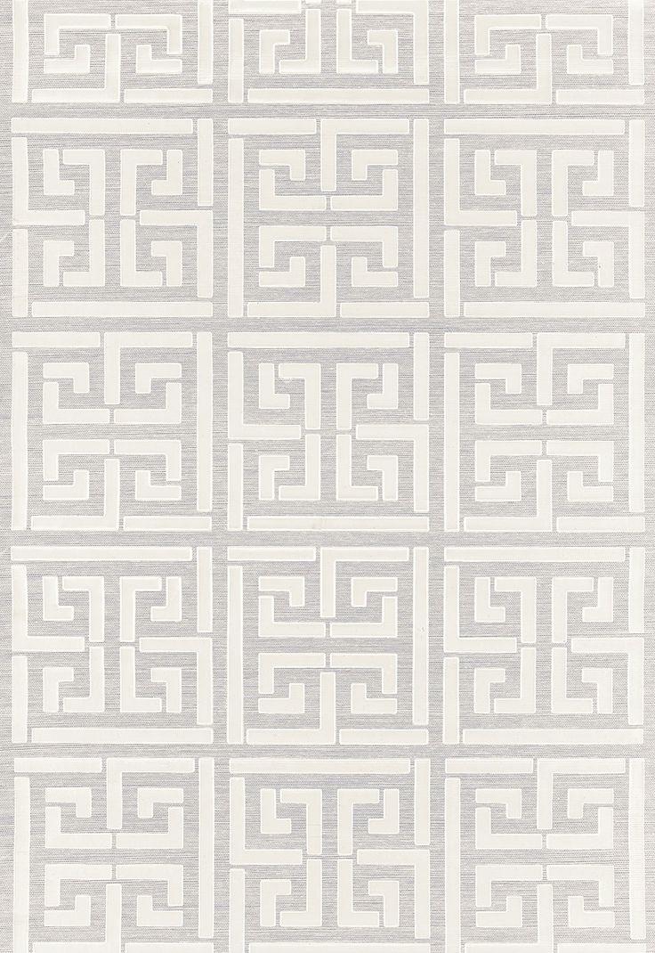 Schumacher Greek Key Sisal Silver Wallpaper Silver