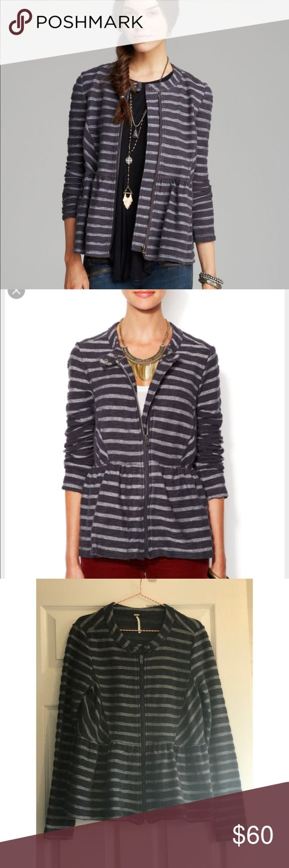 FREE PEOPLE Striped Peplum Cotton Jacket Striped textured peplum jacket with snap collar and zip closure. 85% cotton. Free People Jackets & Coats