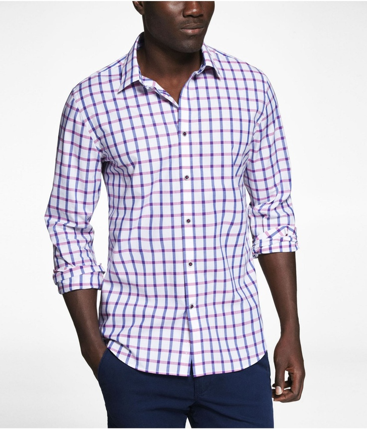 FITTED PLAID SHIRT | Express
