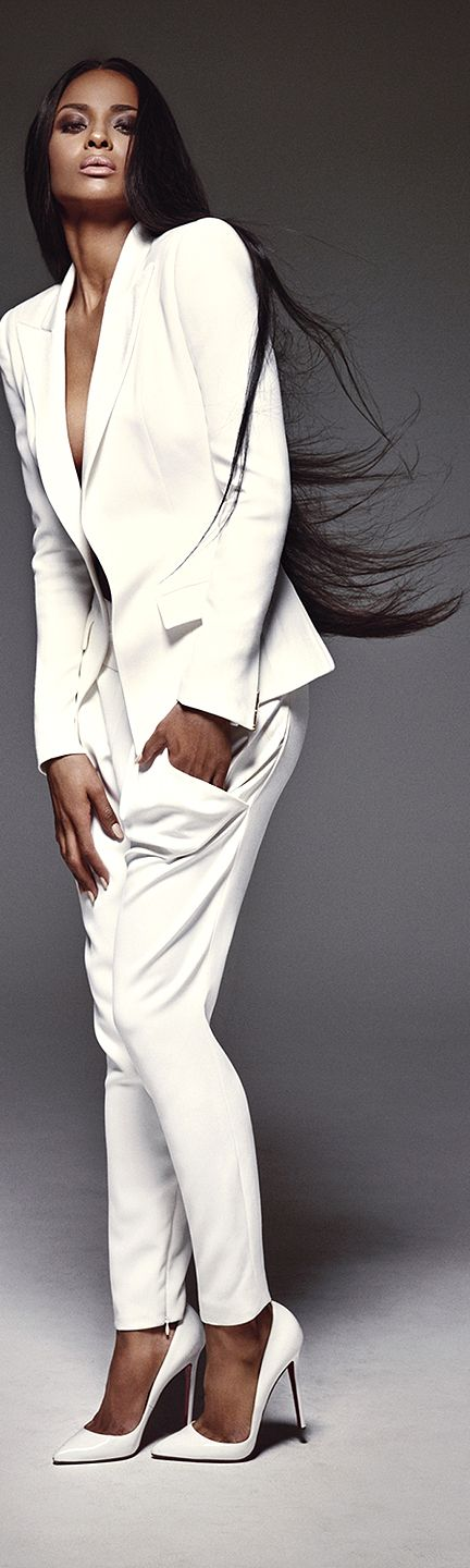 Ciara Chic Summer White| Purely Inspiration. Blazer, pants. women fashion outfit clothing style apparel @roressclothes closet ideas
