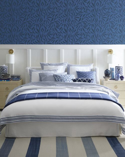 Blue and white bedroom.