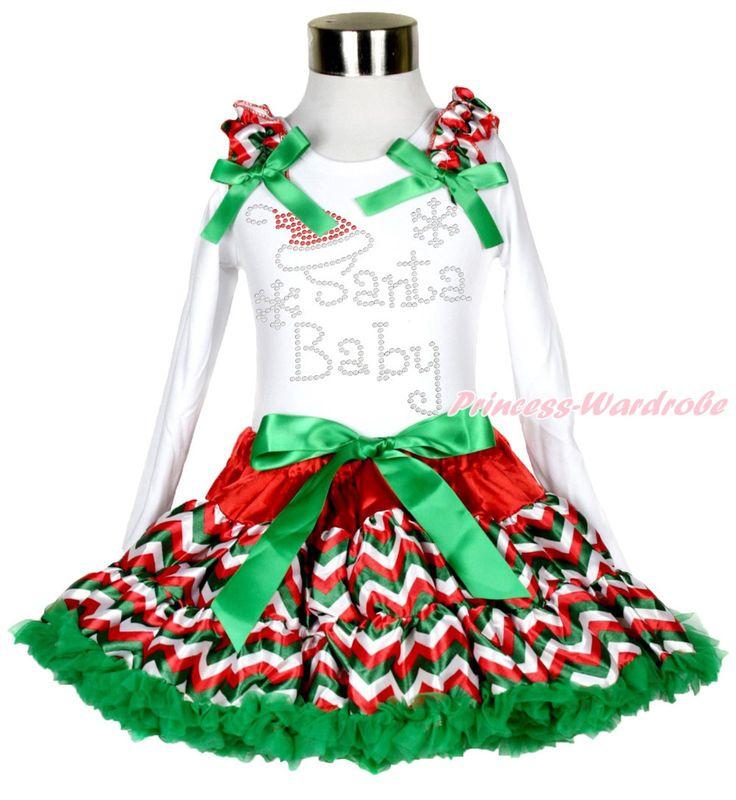 Рождество горный хрусталь Santa Baby печать белый L / S топ шеврон юбка девушка наряд 1-8Y MAMG204