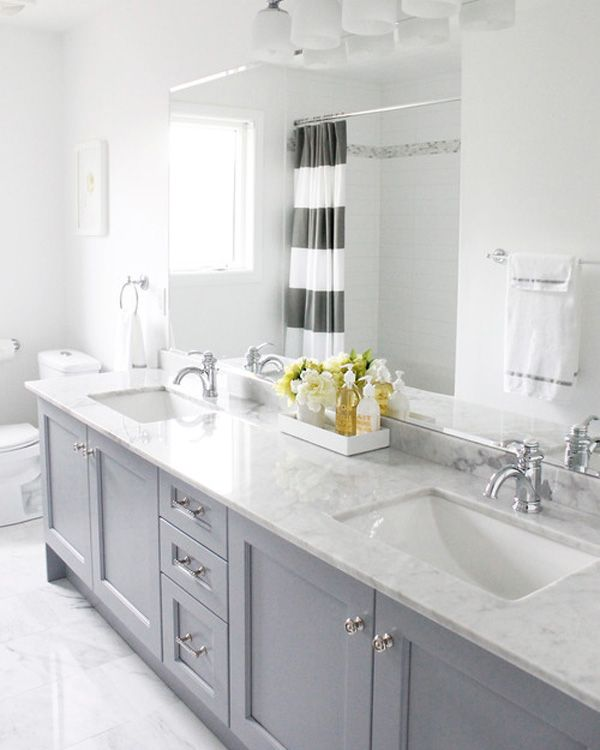 Gray and white Striped Curtain bathroom
