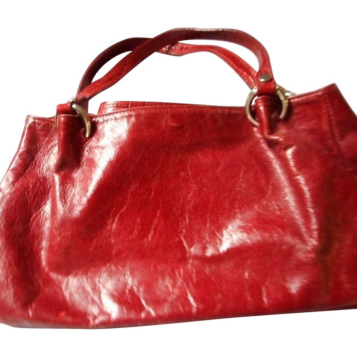 Italian Vintage Red Leather Handbag, Maurizio Taiuti --- The Ruby Red Tag Sale is on! 50% off for 96 hours from 8 am Friday, Nov 25th to 8 am Tuesday, Nov 29th. www.rubylane.com #RubyRedTagSale @Ruby Lane