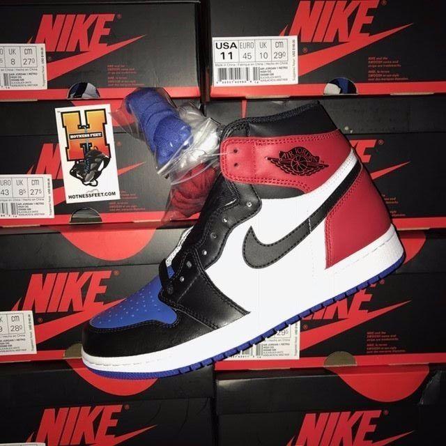 Nike Air Jordan Retro 1 High OG Black White Red Blue 555088-026 Top 3 Sz: 4.5Y