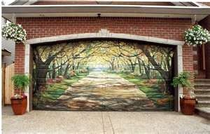 Can't find who did this but how lovelyCustom Garages, Garages Doors, House Ideas, Design Ideas, Garage Doors, Dreams House, Street Art, Painting Garages, Doors Art