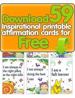 Free printable affirmation cards for kids. Ooh, we're going to make so many mini-books!