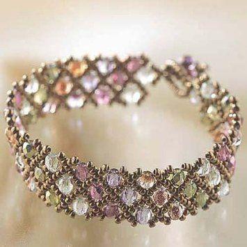 Pretty bracelet: gold and pastel colours