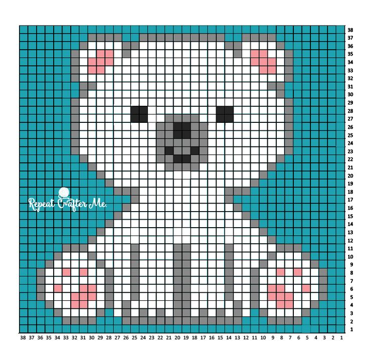 Polar Bear C2C large square, small throw--Repeat Crafter Me