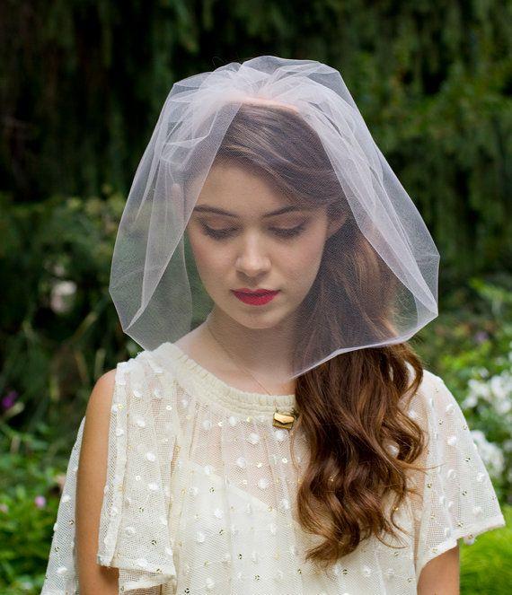 Elegant Single Layer  Chin length Blusher Veil by Foxandharedesign, $85.00