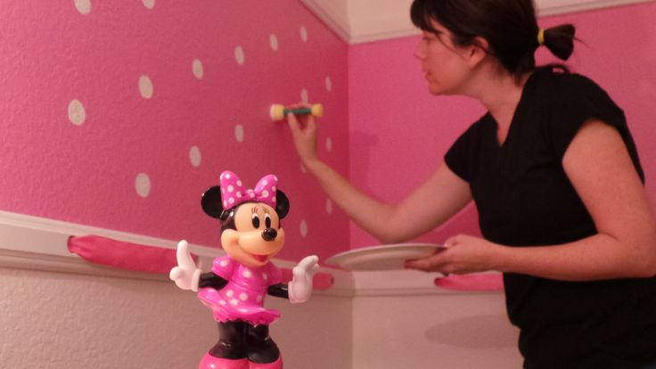 Minnie Mouse room.  Check out our polka dot paint treatment and ribboned chair rail.  Our Minnie Mouse Bowtique room has been so popular!  So pretty and pink for your Disney loving little one!
