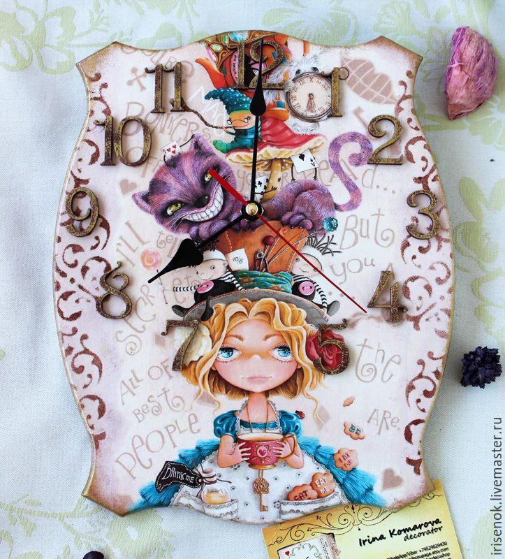 """Купить """"Алиса"""", часы - бежевый, алиса в стране чудес, часы деревянные, часы настенные"""