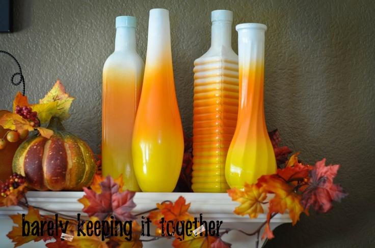 Barely Keeping It Together: Candy Corn Vases & Bottle Vases