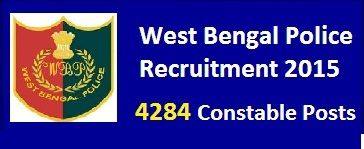 WBP Police Recruitment 2015 for 4284 posts