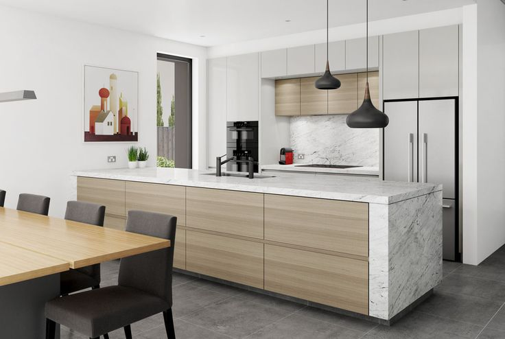Tall kitchen design with a long marble topped peninsula. Bronte, NSW