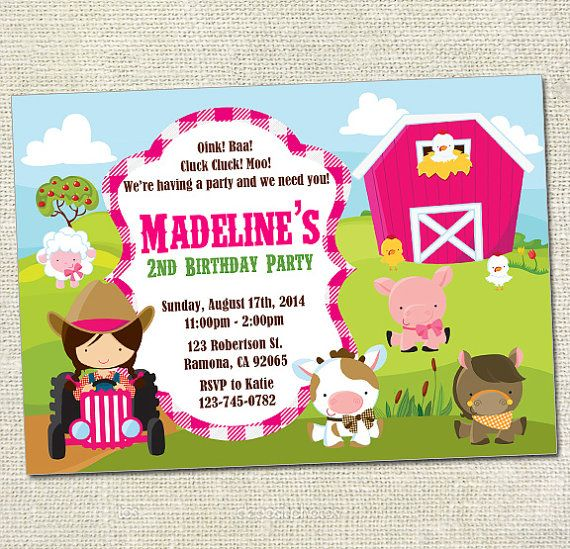 Farm Barnyard Printable Birthday Invitation by BerryCutePrintables