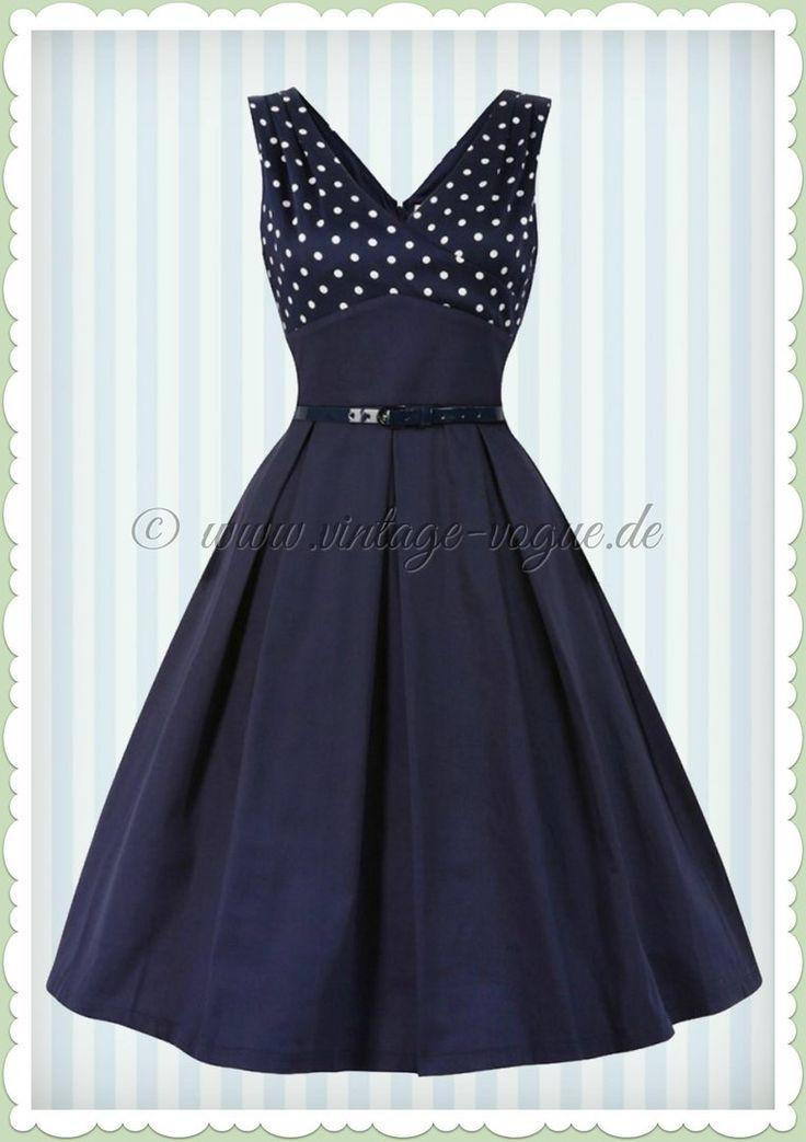 Lindy Bop 50er Jahre Rockabilly Petticoat Punkte Kleid - Valerie - Navy