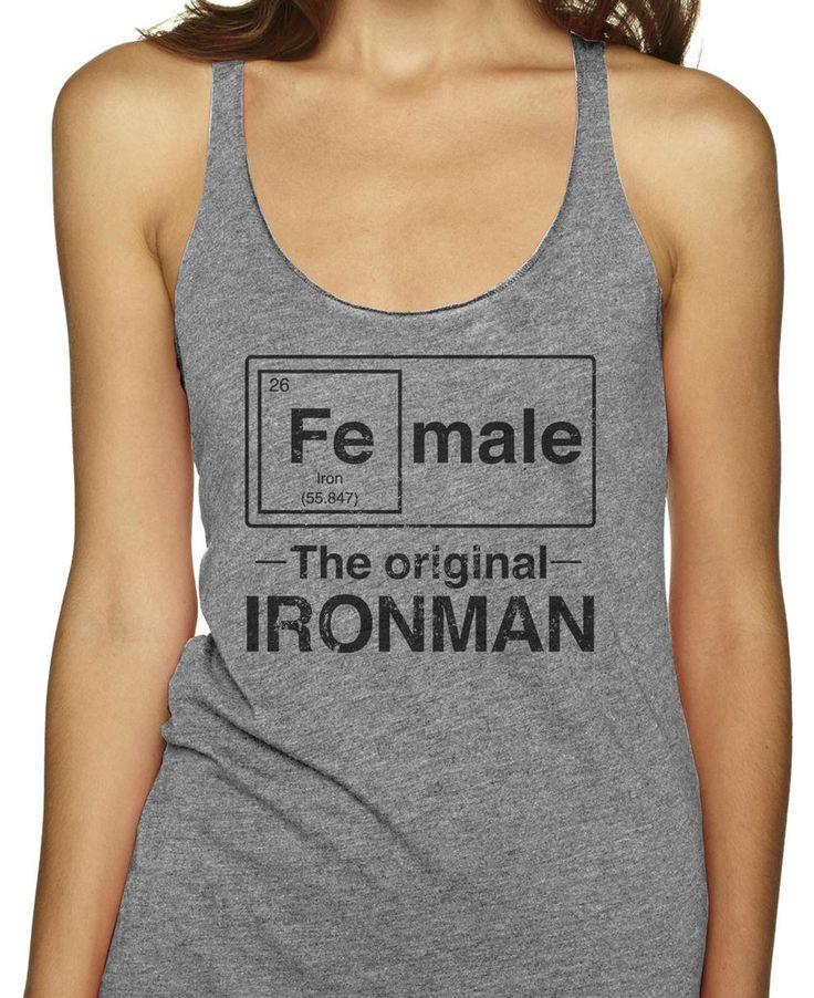 Female - The Original Ironman on an Athletic Grey Racerback